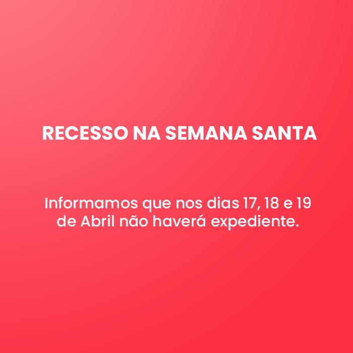 Informamos que nos dias 17, 18 e 19 de Abril não haverá expediente.